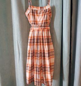 ☆3 for $25☆ Retro orange plaid house dress
